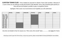 -- Clipston Tennis Club Booking/Reserved Times Form