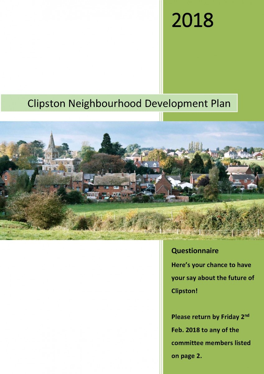 Clipston NDP Questionnaire - front page