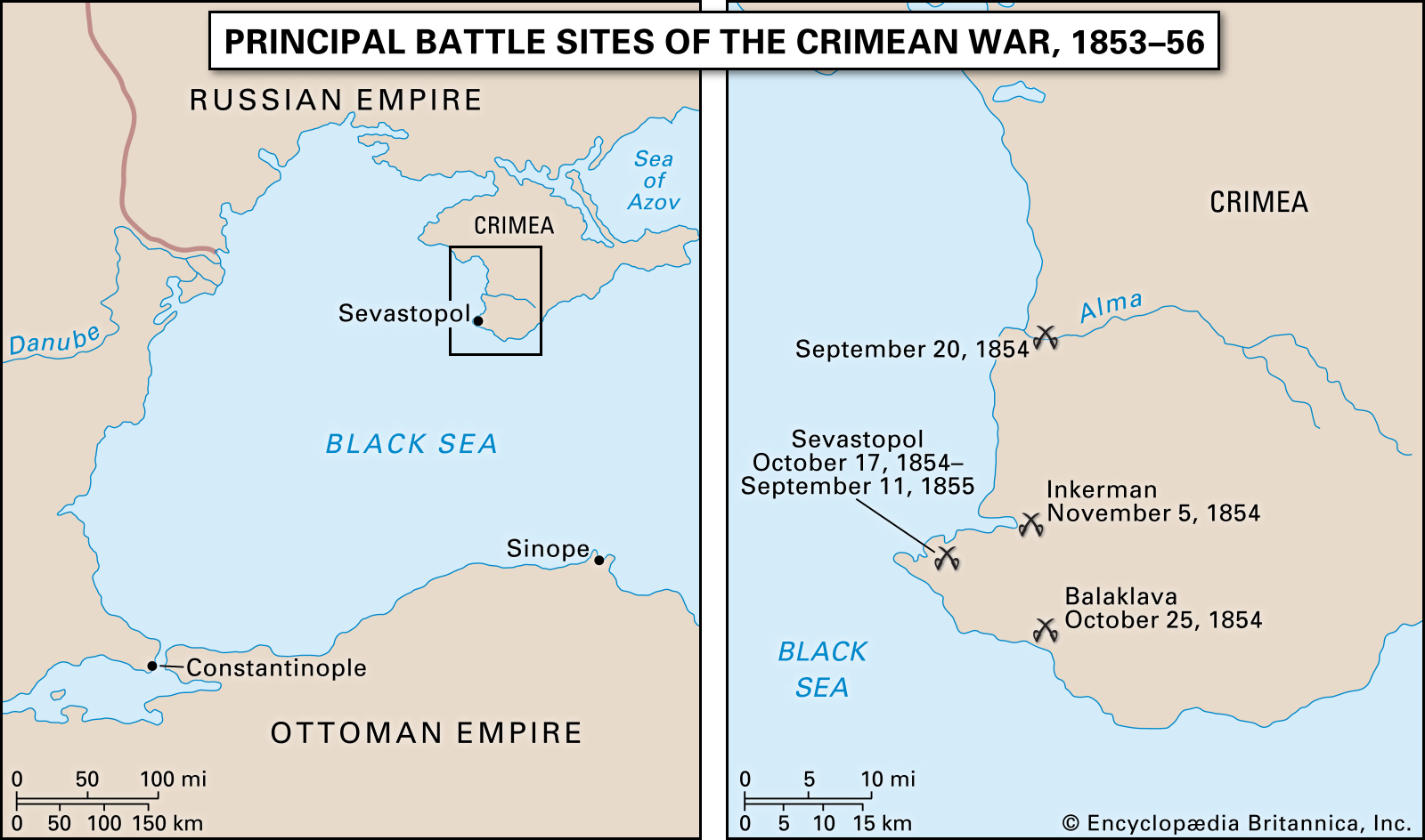 Battle sites and key locations in the Crimean War