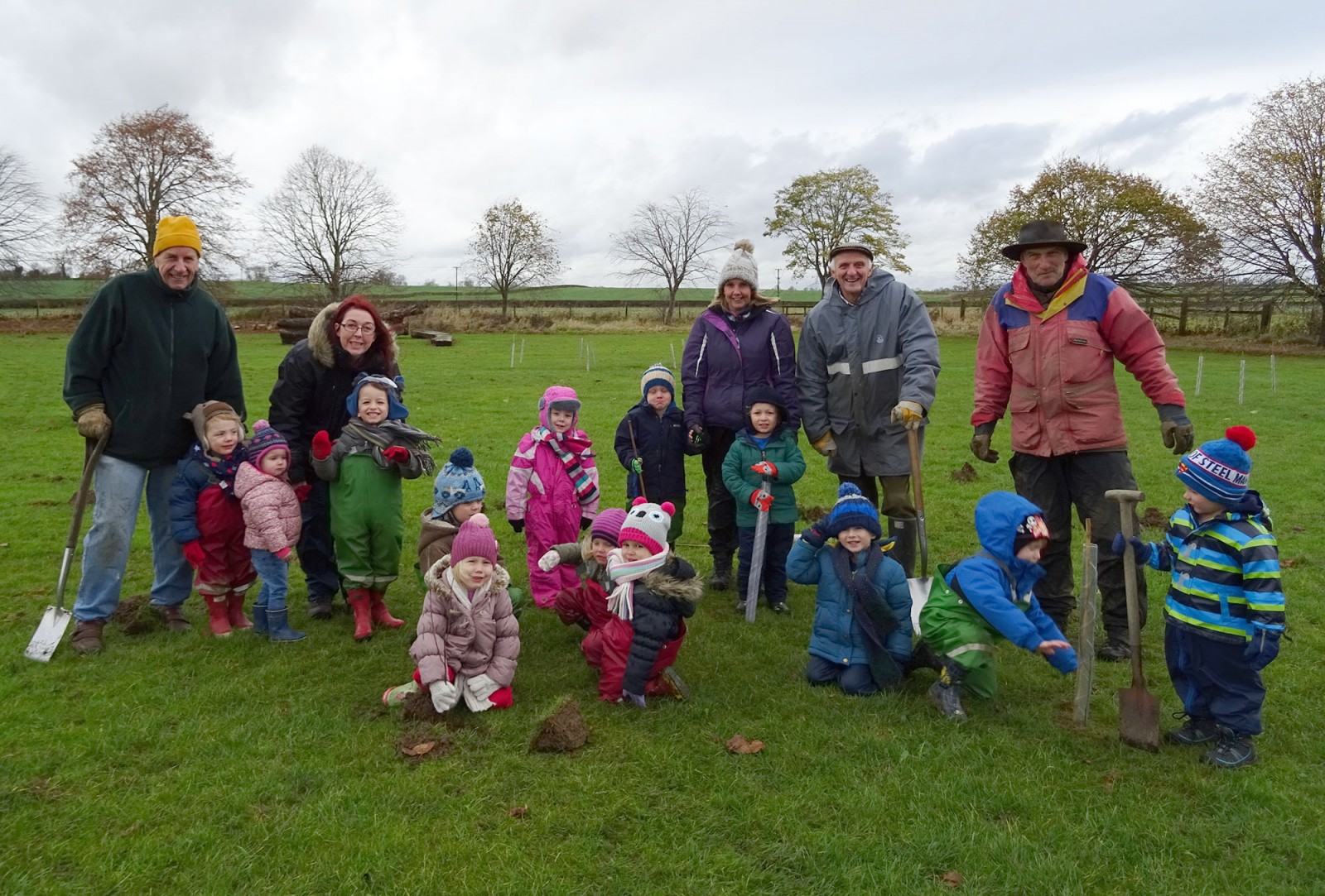 Youngsters from Clipston enjoyed a muddy day of planting trees